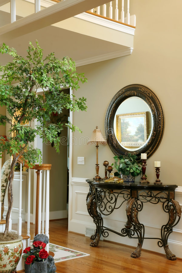 Foyer of Upscale Home stock photo