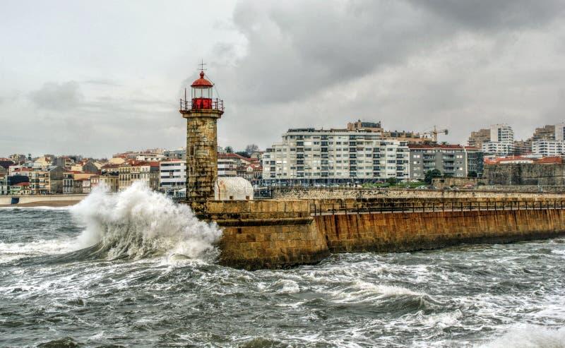 Foz do Douro lighthouse royalty free stock photos