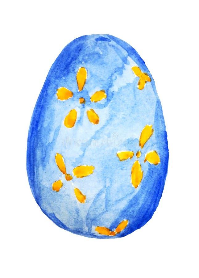 Fröhliche Ostern Aquarellhandgezogenes blaues Osterei lokalisiert auf weißem Hintergrund Für Grußkartendesign lizenzfreie abbildung