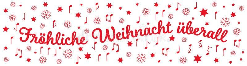 Fröhliche Weihnacht à ¼ berall、德国圣诞节问候、横幅、红色信件、星、笔记和雪花 向量例证