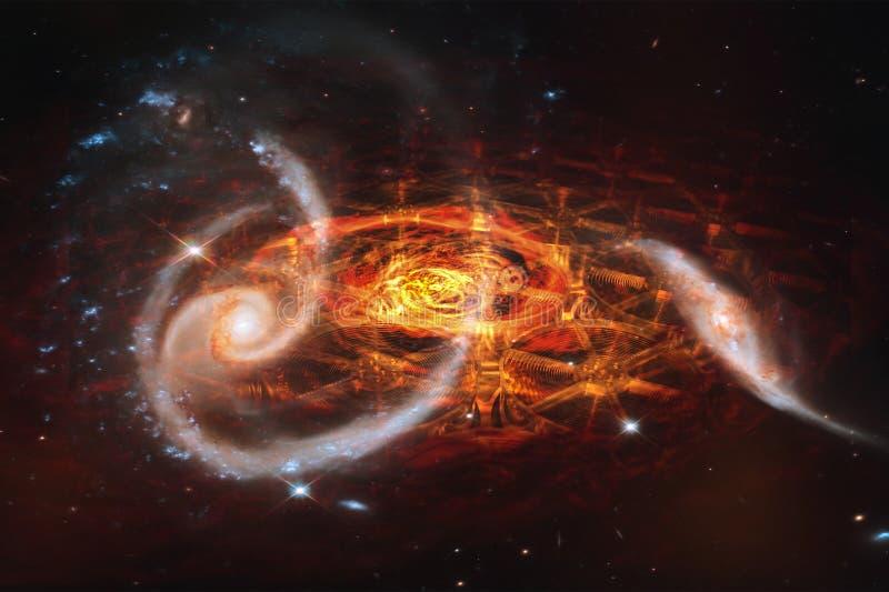 Främling konstruerat svart hål, collage arkivfoto