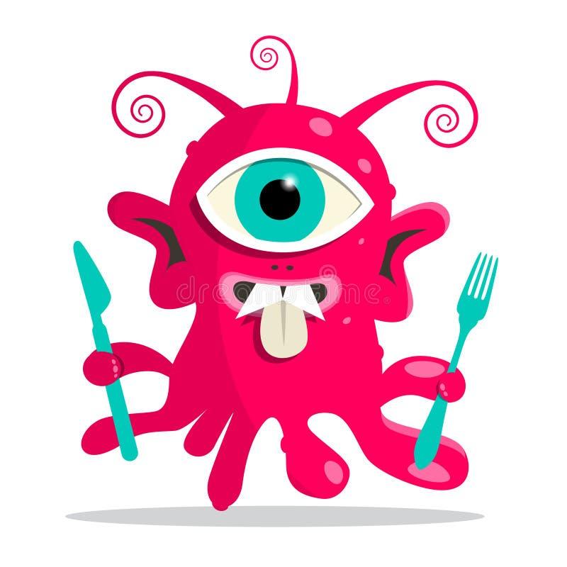Främling - monster eller bacill vektorillustration stock illustrationer