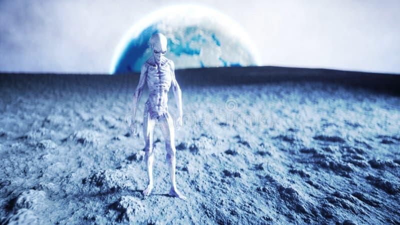 Främling på planeten, måne Jord på backgound ufo framförande 3d stock illustrationer