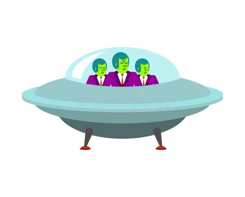 Främlingar i ufo-rymdskepp Grön humanoid invasion stock illustrationer