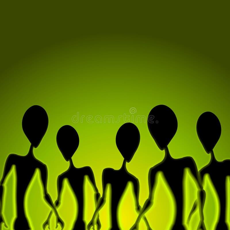 främlingen figures grön invasion royaltyfri illustrationer