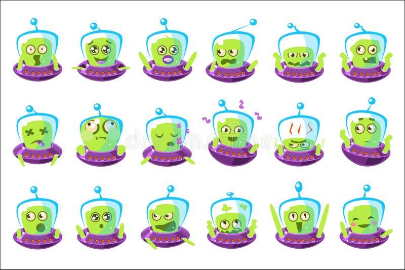 Främlingen i uppsättningen för Ufo Emoji av förenklade klistermärkear för tecknad filmtecken isolerade royaltyfri illustrationer