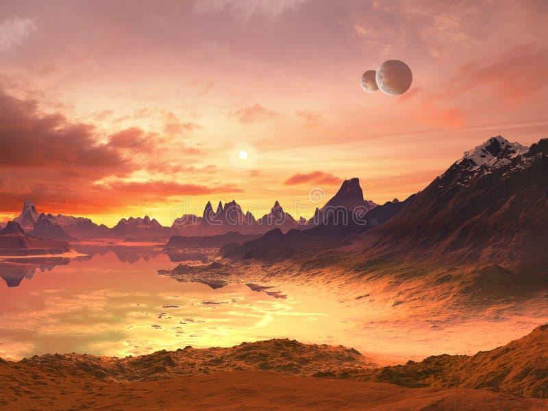 främlingen moons hav över solnedgång två vektor illustrationer