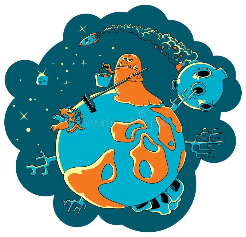 främlingen tar bort planet stock illustrationer