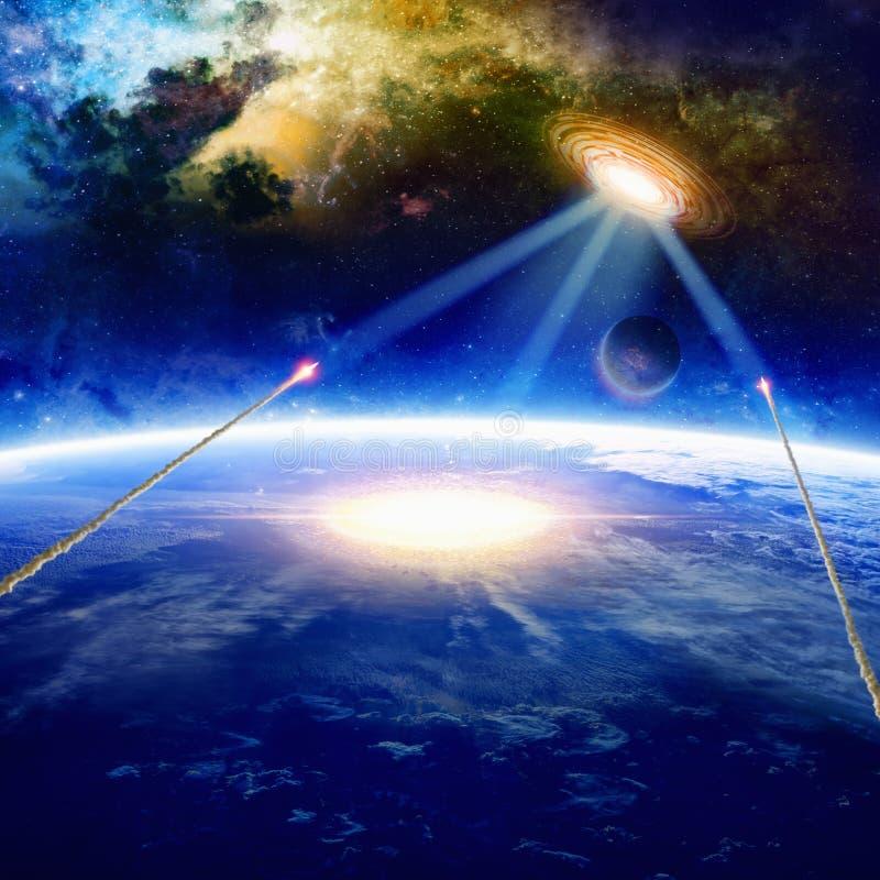 Främlingrymdskeppet slår planetjord royaltyfria bilder