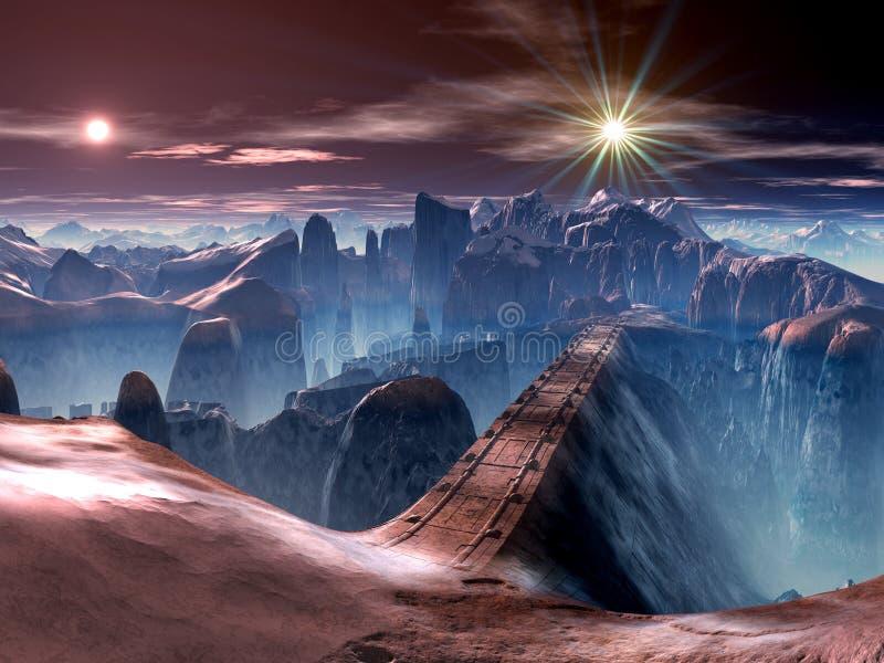 främmande bro som är futuristic över ravinvärlden stock illustrationer