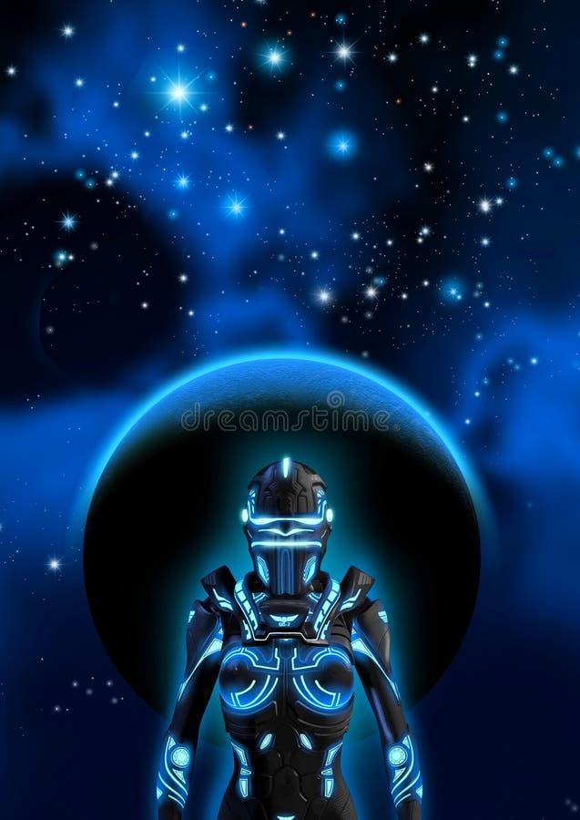 Främmande cyborg i en mörk himmel, i bakgrunden en planet, en nebulosa och många ljusa stjärnor, illustration 3d vektor illustrationer