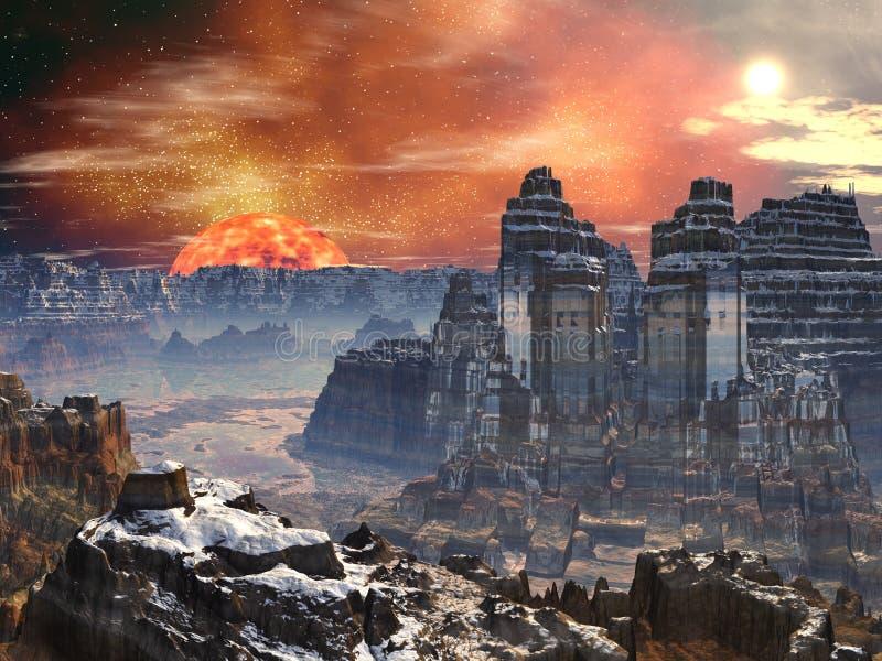 främmande dalvärld för tempel två stock illustrationer