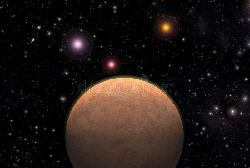 främmande exoplanetplanet royaltyfri illustrationer