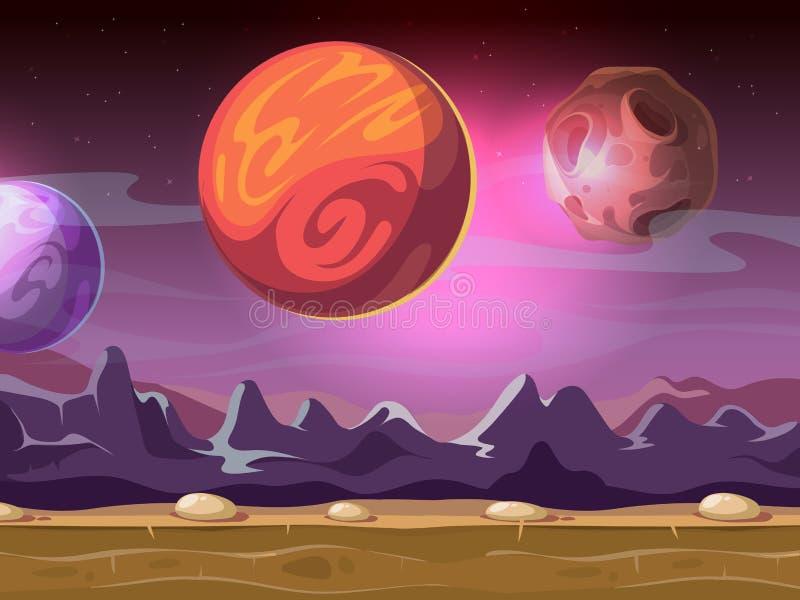 Främmande fantastiskt landskap för tecknad film med månar och planeter på stjärnklar himmel för dataspelbakgrund vektor illustrationer