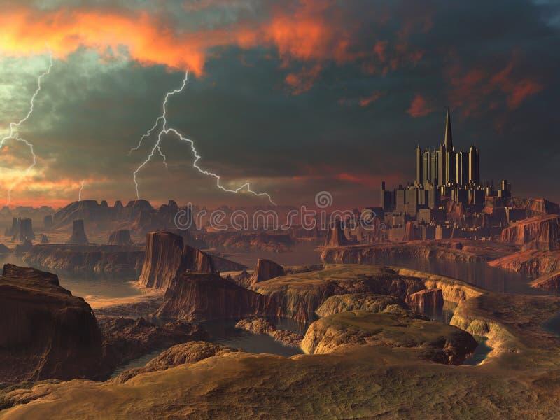 främmande forntida stadsliggandeblixt över storm royaltyfri illustrationer