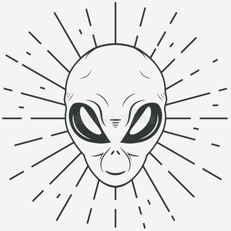 Främmande framsidautslagsplatsstubbe, humanoidhuvud, vektor vektor illustrationer