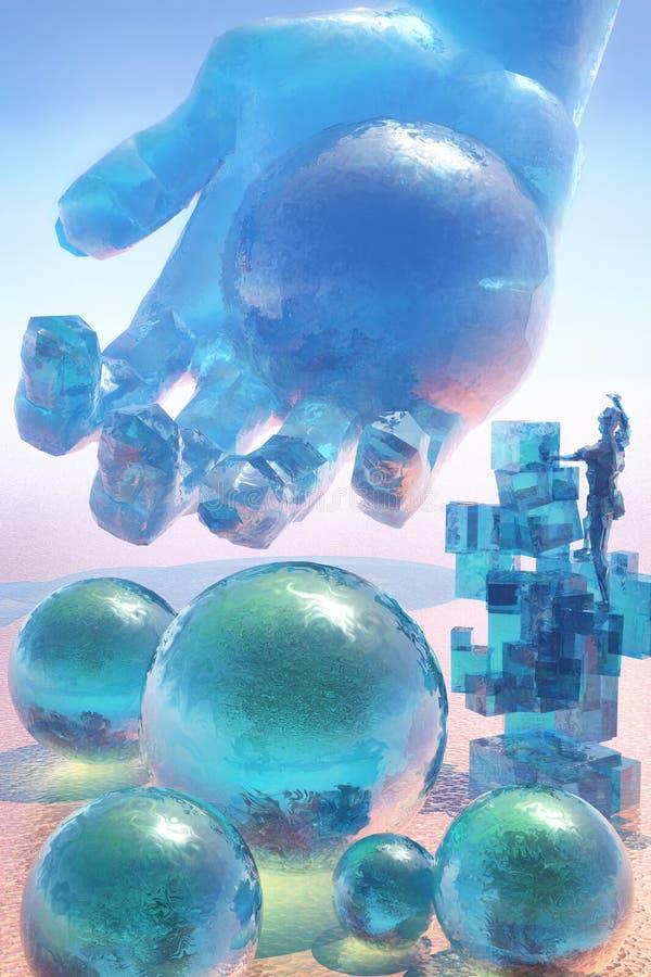 Främmande glass planet stock illustrationer