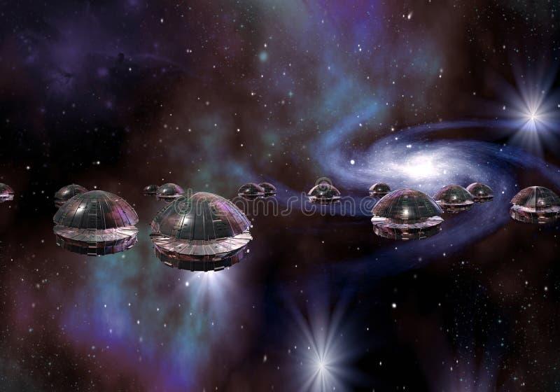 Främmande invasion, genom att flyga Saucers vektor illustrationer