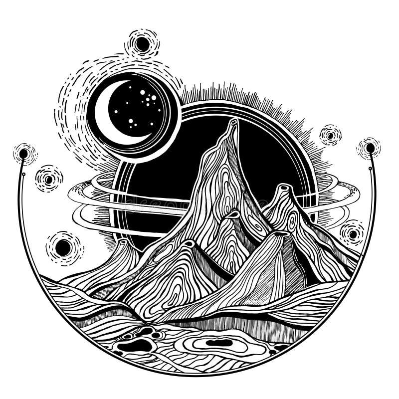 Främmande landskap för fantasi, illustration för vektorutrymme royaltyfri illustrationer