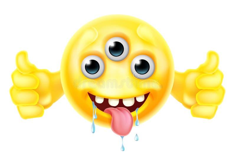 Främmande monster Emoji som ger upp tummar royaltyfri illustrationer