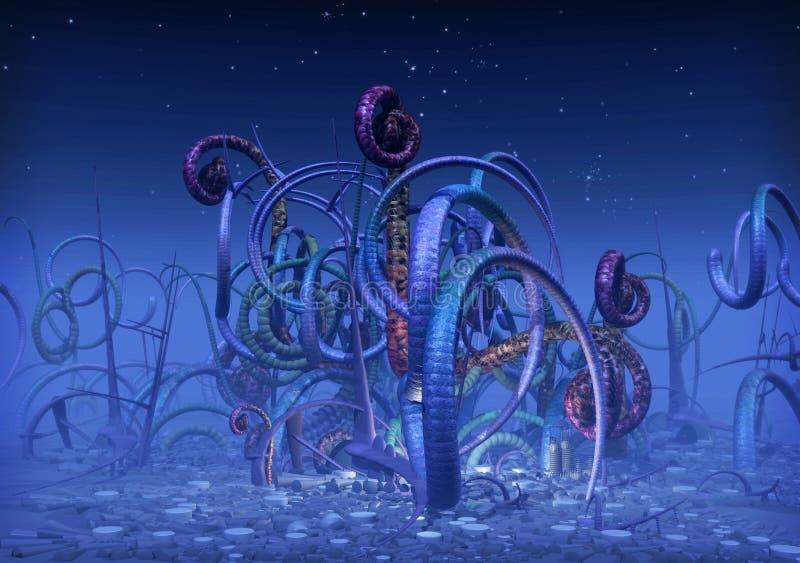 främmande planet stock illustrationer