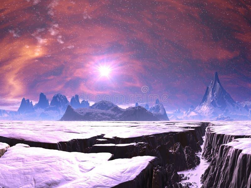 främmande planet för svalgjordskalvis stock illustrationer