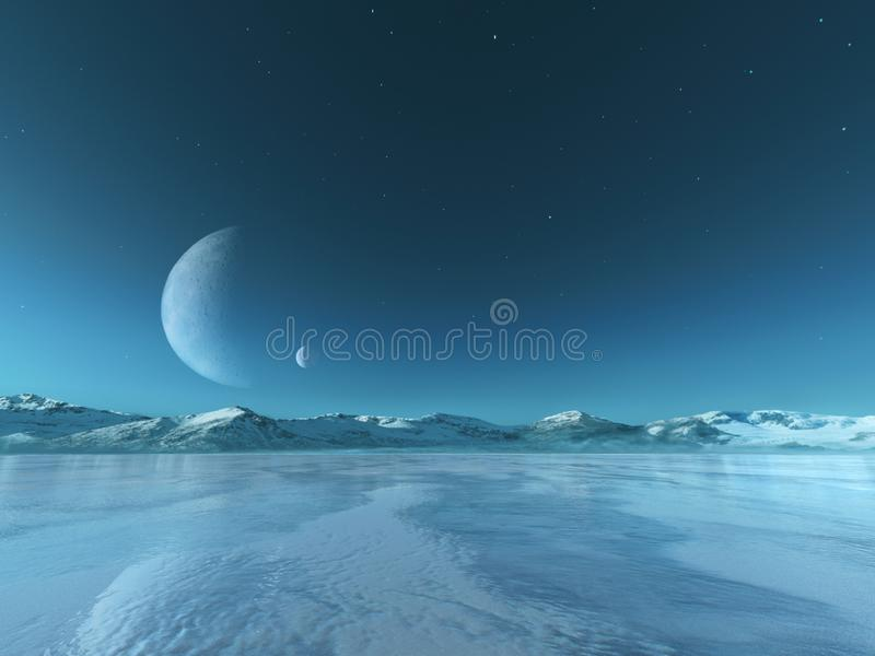 Främmande planet fryst sjöbakgrund, vinter arkivfoto