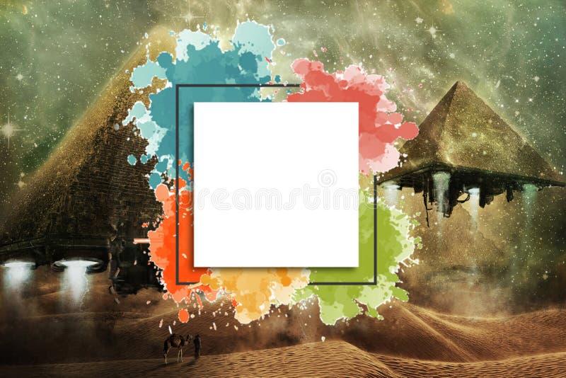 Främmande pyramider för konstnärligt abstrakt flyg av Egypten som ett rymdskepp med en Placeholder för att text ska skriva på den royaltyfri illustrationer