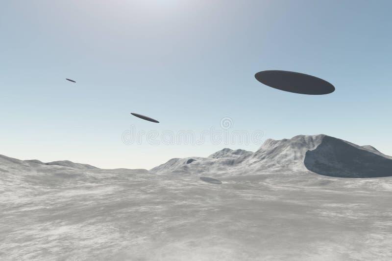 Främmande rymdskepp för ufo som flyger över berg stock illustrationer