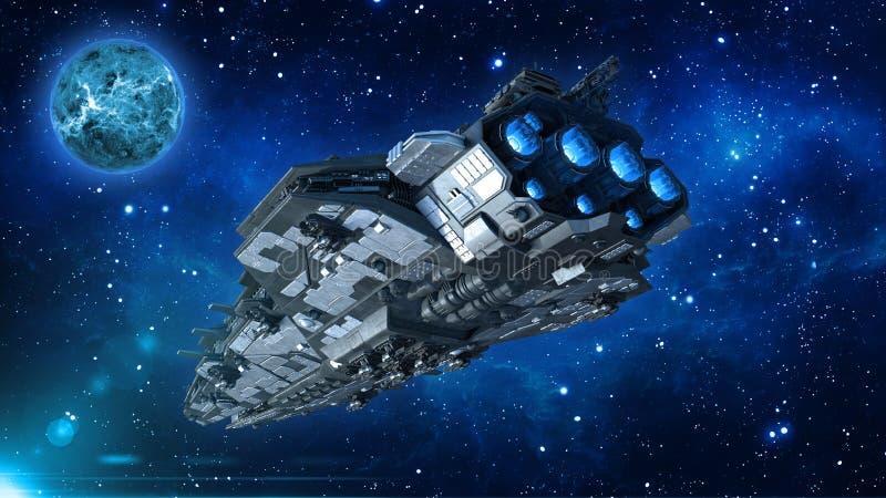 Främmande rymdskepp i universumet, rymdskeppflyg i djupt utrymme med planeten och stjärnor i bakgrunden, bakre nedersta sikt för  royaltyfri illustrationer