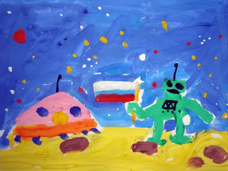 Främmande rymdskepp på månen - målning av barnet stock illustrationer