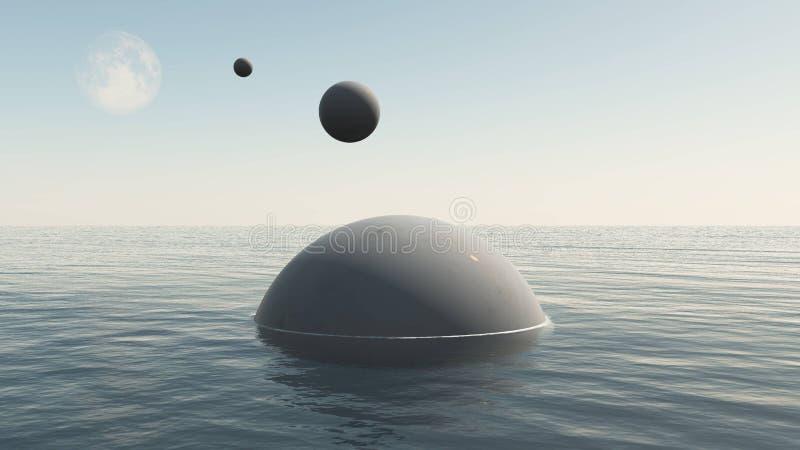 Främmande rymdskepp som stiger ned till vatten av jordhavet royaltyfri illustrationer