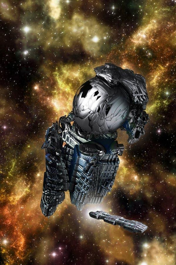 Främmande rymdskepphaveri royaltyfri illustrationer