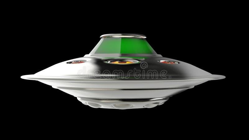 Främmande rymdskeppufo på svart bakgrund framför royaltyfri illustrationer