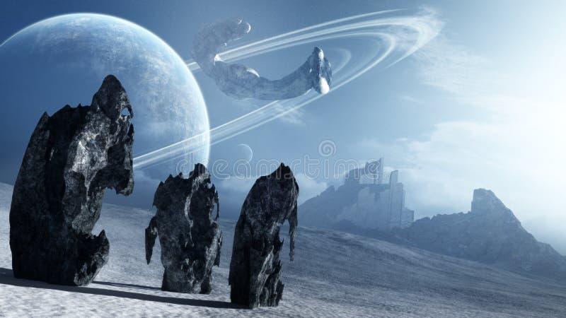 Främmande skepp som lämnar den avlägsna planeten stock illustrationer