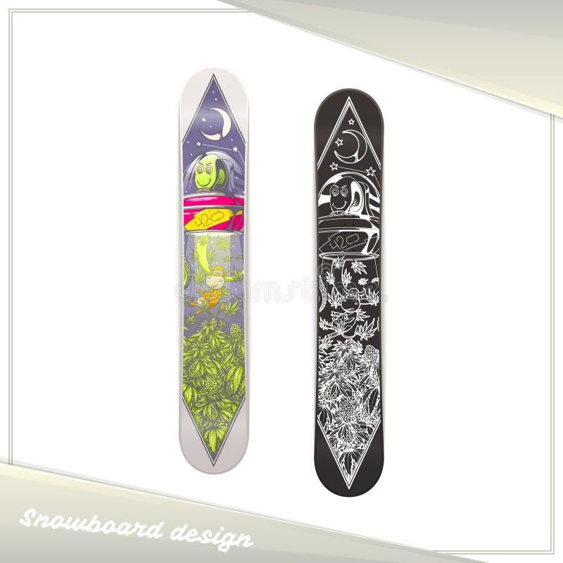 Främmande Snowboarddesign stock illustrationer