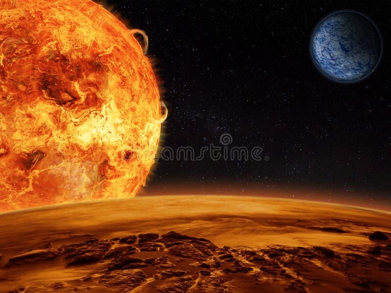 Främmande sollöneförhöjningar över en stenig måne stock illustrationer