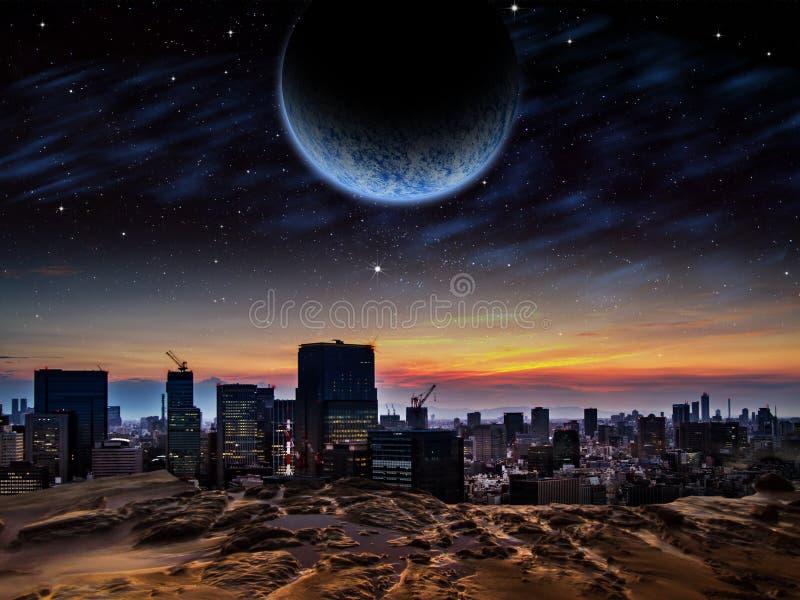 Främmande stad på soluppgång eller solnedgången stock illustrationer