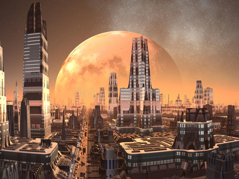 främmande stadsframtid över planetstigning royaltyfri illustrationer