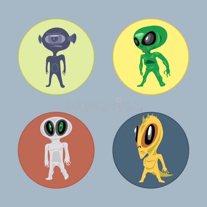Främmande stil för varelse- och monsteruppsättninglägenhet stock illustrationer
