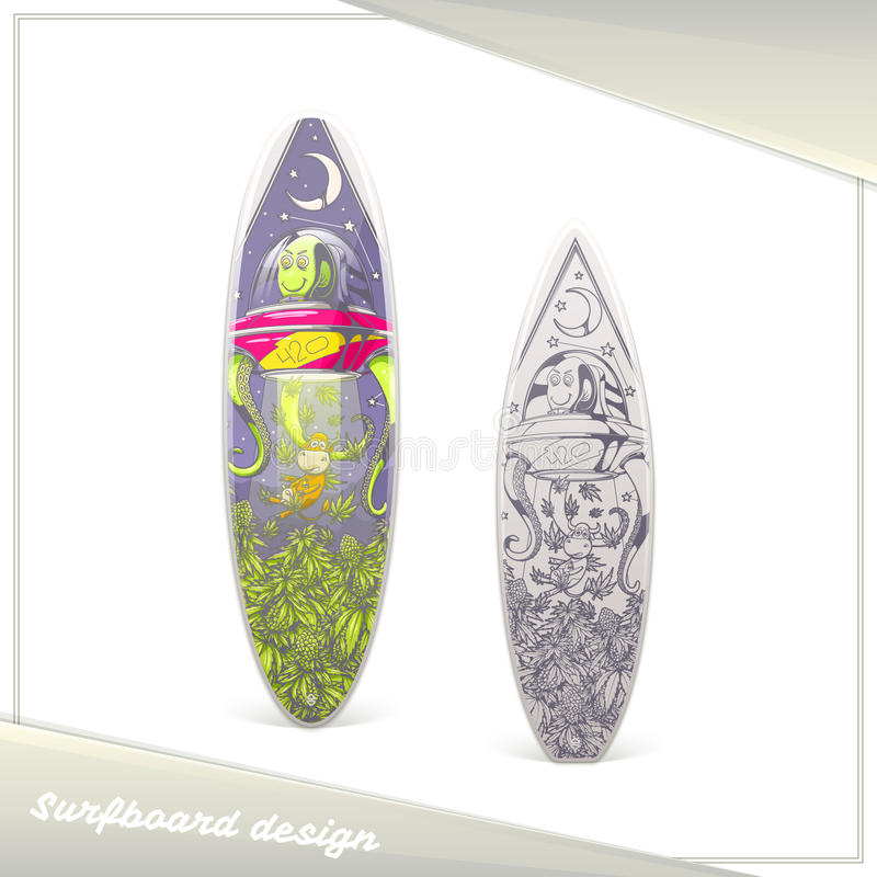 Främmande surfingbrädadesign vektor illustrationer