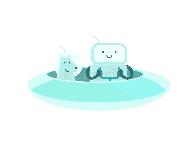 Främmande tecken för robotastronautman med hunden På ufoufon i utrymme Plan färgvektorillustration royaltyfri illustrationer