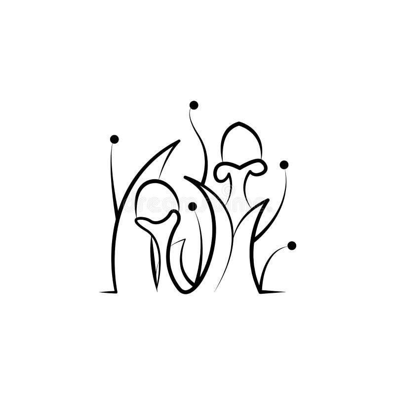 Främmande växtsymbol Beståndsdel av symbolen för handattraktionufo stock illustrationer