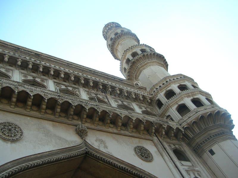 Främre fasad av Charminar, ett härligt arkitektoniskt mästerverk från Hyderabad, Indien royaltyfri fotografi