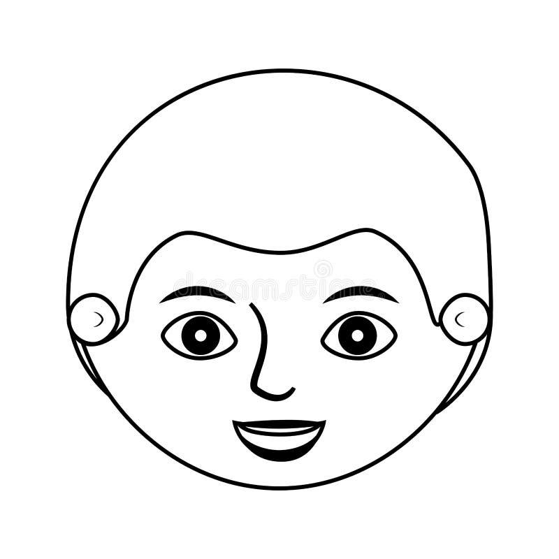 Främre framsidamankontur med frisyr stock illustrationer