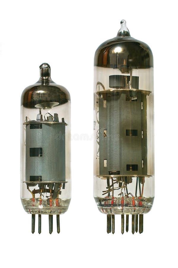främre gammala radiorör två vakuum sikt fotografering för bildbyråer