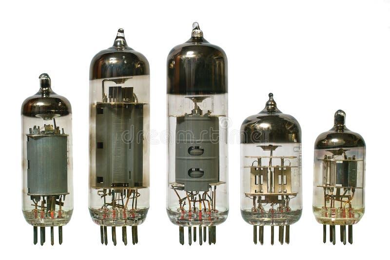 främre gammala radiorör vakuum sikt royaltyfria bilder