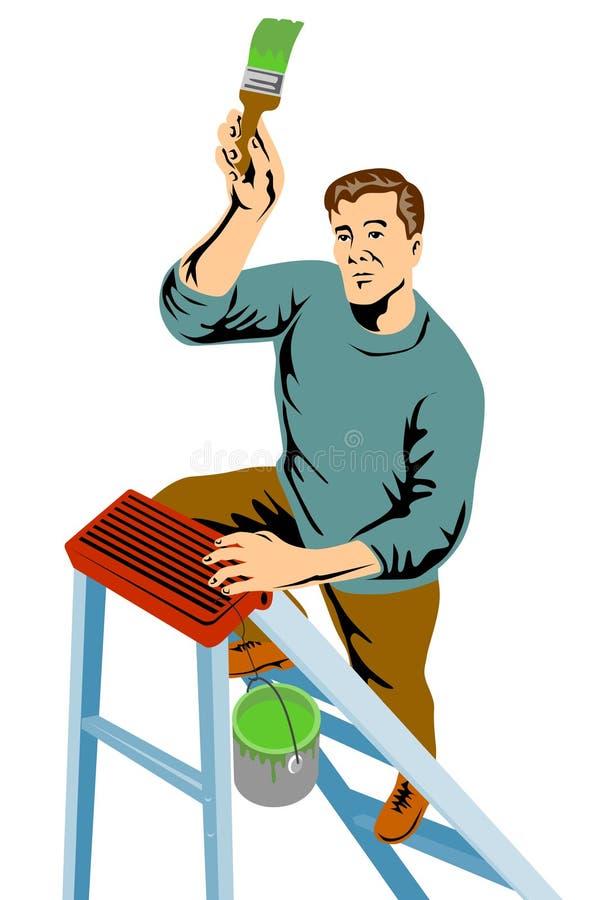 främre handymanmålning vektor illustrationer