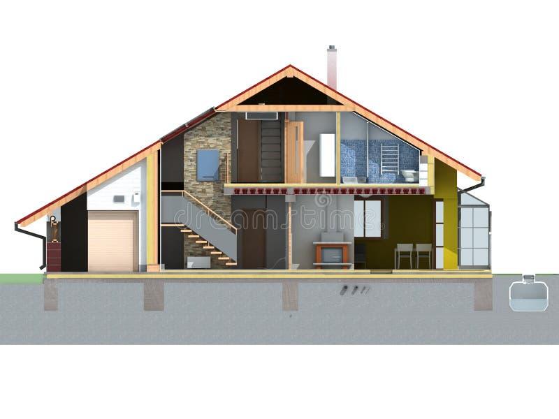 främre husavsnitt stock illustrationer