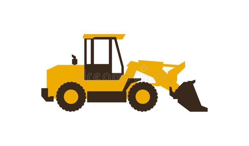 Främre laddare för symbol white för objekt för maskineri för bakgrundskonstruktion grävskopa isolerad också vektor för coreldrawi stock illustrationer